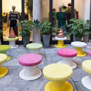 Courtyard furnished with Bo.bi pouf by LuDesign